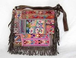 Vintage Banjara Leather Embroidery Cross Body Bag