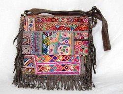 Vishal Handicraft Casual Vintage Banjara Leather Embroidery Cross Body Bag