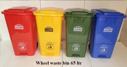 Plastic Dustbin with Wheel And Pedal Type 65ltr