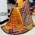 Raw Silk Jacquard Weaving Jari Butta And Border Saree