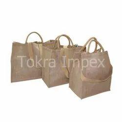 Set Of 3 Laminated Jute Bag