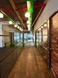 Decorative Glass Office Grid Partition