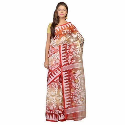 5ac5f6151ca8a Silk Cotton Festive Wear Jamdani Saree