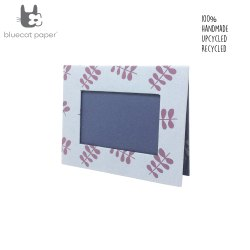 Photo Frame - Light Blue and Navy Blue, Mauve Twig Leaf Print