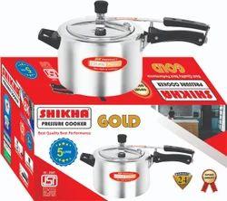 Shikha Aluminium 5 Liter Gold Aluminum Pressure Cooker, For Home, Packaging Type: Box
