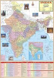 India Political For Wall Map