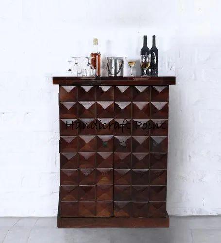Provincial Teak Finish Solid Wood Small, Small Bar Furniture