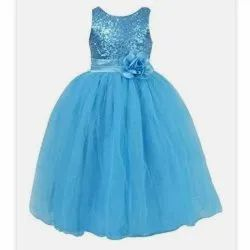 Girl Party Wear Sky Blue baby Gown In Full Flared