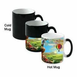 Black Photo Printed Ceramic Magic Mug, For Gifting
