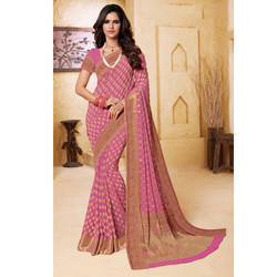Pink Printed Saree