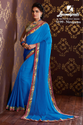 Laxmipati Blue Chiffon Saree Chitravali 5199