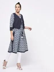 Yash Gallery Womens Cotton Straight Kurti With Jacket