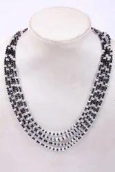Black Spinel & White Rainbow Necklace