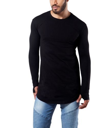 bc04765e4459 Black Round Finger's Men's Full Sleeves Thumb Hole Cotton T Shirt ...