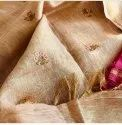 Linen Embroidery Work Sarees
