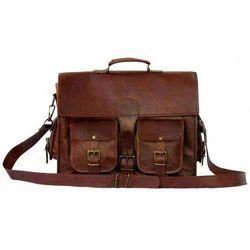 Shoulder Bag Brown Goat Leather Bags, Size: 13 Inch