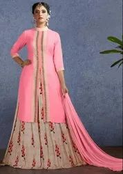 Carnation Pink And Beige Lehenga Kameez
