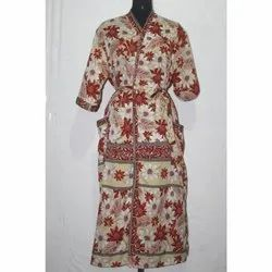 Vintage Silk Sari Long Kimono Bath Robe Jacket Dress