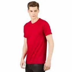 Mens Red Plain Round Neck T-Shirt