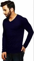 Navy Blue Cotton V Neck Full Sleeves T Shirt