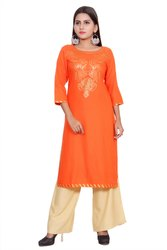 Orange Foil Printed Design Kurti