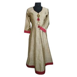 Silk Casual Wear Ladies Long Anarkali Kurti, Size: S-XL