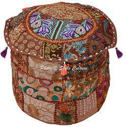 Cotton Ottoman Pouf Patchwork Ottoman Cover