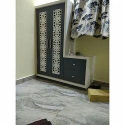 Double Door Modern Wooden Polished Wardrobe