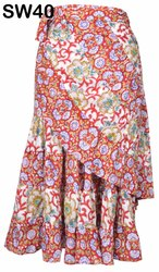 Cotton Block Printed Wrap Around Frill Skirts Dress Wholesale SW40