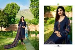 French Crepe Semi-Stitched Dark Blue Salwar Suit