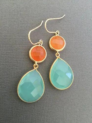 Aqua Blue Chalcedony and Orange Aventurine Gemstone Earrings