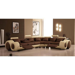 Modern Brown L Sofa Set, For Home
