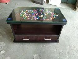 gujjubazar Brown Center table 2 drawer, For Home