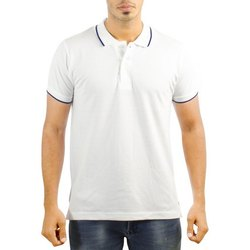 Cotton Half sleeve Mens White T Shirt