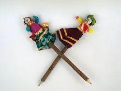 Traditional Puppets Folk Art Birthday Return Gift Handmade Man Woman Figurine Doll Neem Pencil