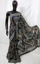 Dabu Hand Block Printed Chanderi Silk Saree, 6.3 m (With Blouse Piece)
