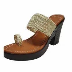 Rajson & Company High Heels Brown Ladies Sandal for Casual Wear