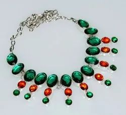92.5 Sterling Silver Chrome Diopside Necklace