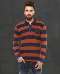 Orange Full Sleeved Polo With Stripes MFK-5968-E T-Shirts