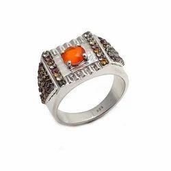 Carnelian & Multi Tourmaline Hot Fine Fashionable Silver Mens Gorgeous Ring