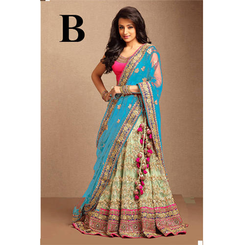 Green Colored Net Embroidered Lehenga Choli At Rs 1600 Piece