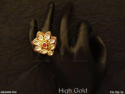 Sunflower Style Antique Moti Finger Ring