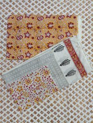 Sanganeri Bagru Hand Block Print Cotton Fabric 3 Piece Suit Set