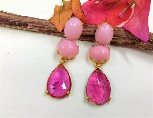 18k Yellow Gold Pink C And Tourmaline Earrings