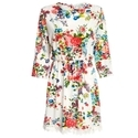 Sweet Round Collar Three Quarter Sleeve Floral Print Elastic Waist Lace Patchwork Dress for Women