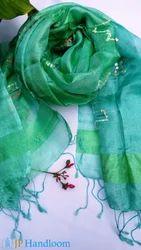 Unique Green Mulberry Silk Scarf