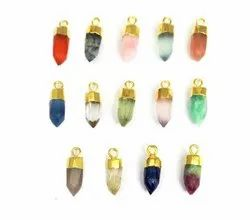 Semi Precious Gemstone Little Spike Charms Pendants