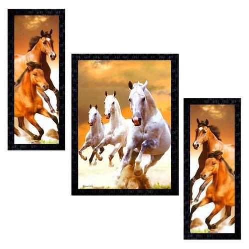 Set Of 3 Modern Art Seven Horse Framed Wall Painting Ptu559