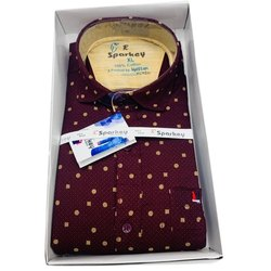 Cotton Collar Neck Mens Dot Printed Shirt, Size: M - XXXL