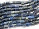 Blue Sodalite Faceted Tube Semi Precious Stone Bead Strands